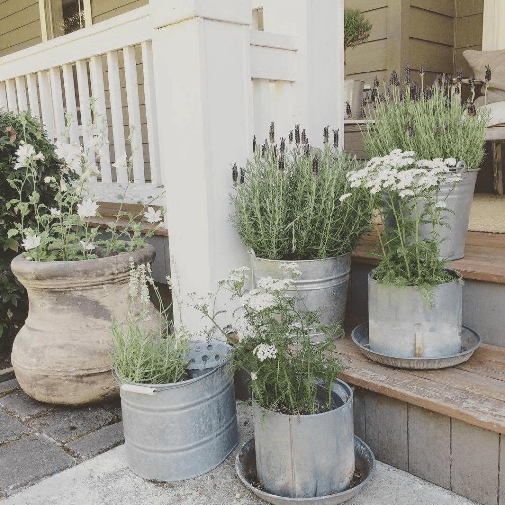 FARMHOUSE RUSTIC FRONT PORCH DECOR IDEAS WITH TIN PLANTERS