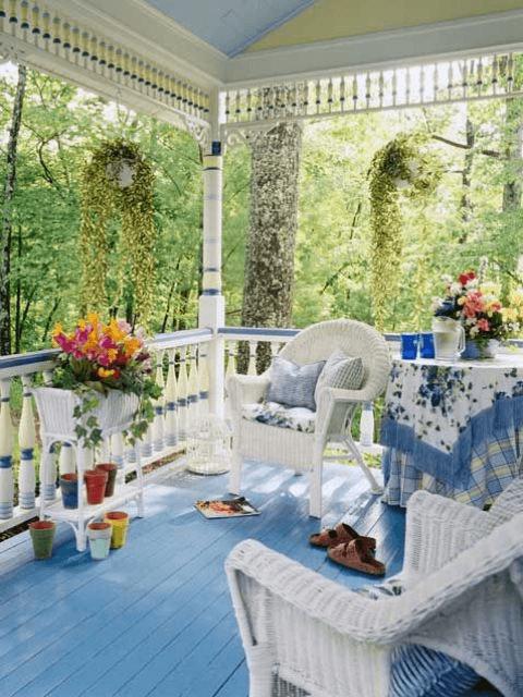 FRONT PORCH DECOR IDEAS FOR SUMMER GARDEN WITH BLUE THEME