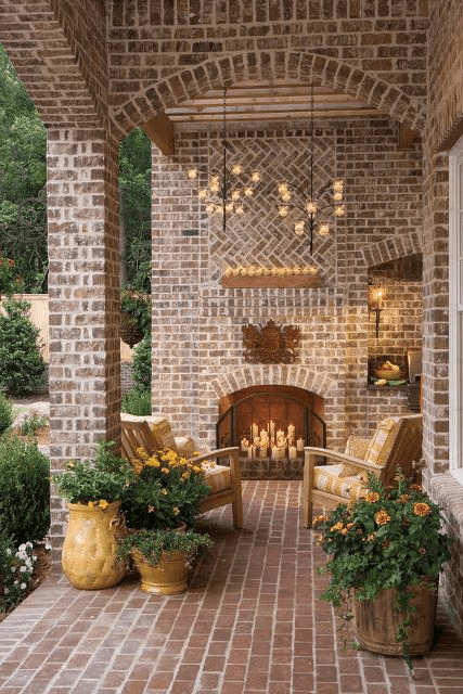 MEDIEVAL PORCH DESIGN IDEAS WITH FIREPLACE AND SEATING