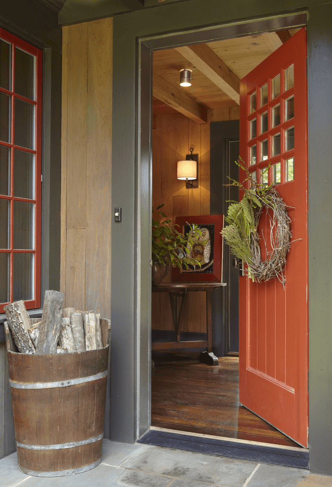 WOODEN BUCKED DECORATION IDEAS FOR RUSTIC FRONT PORCH