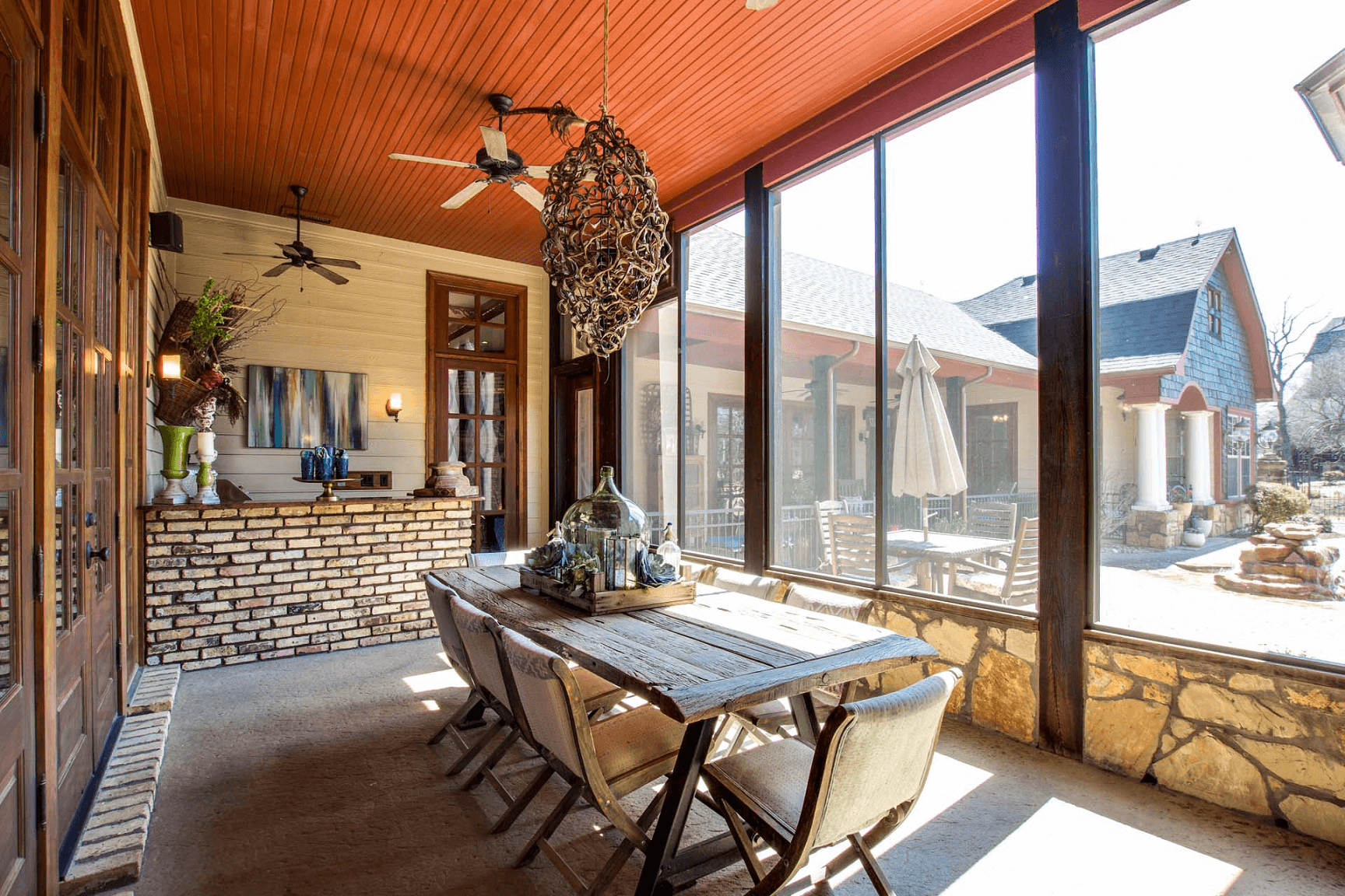 WOODEN DINING TABLE AND CHAIR RUSTIC FOR SCREENED PORCH