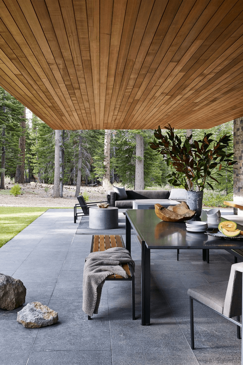 WOODEN MARBLE AND SANDSTONE BACKYARD PORCH DESIGN IDEAS