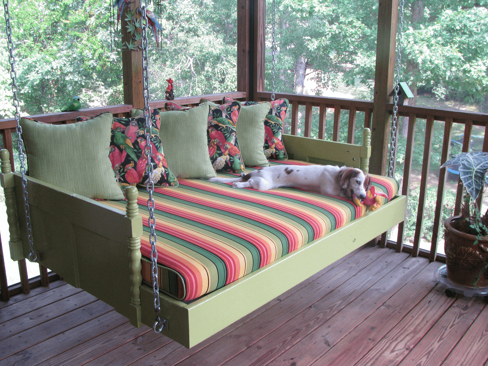 ADD BED AND PILLOW FOR OLD PORCH SWING DECORATION