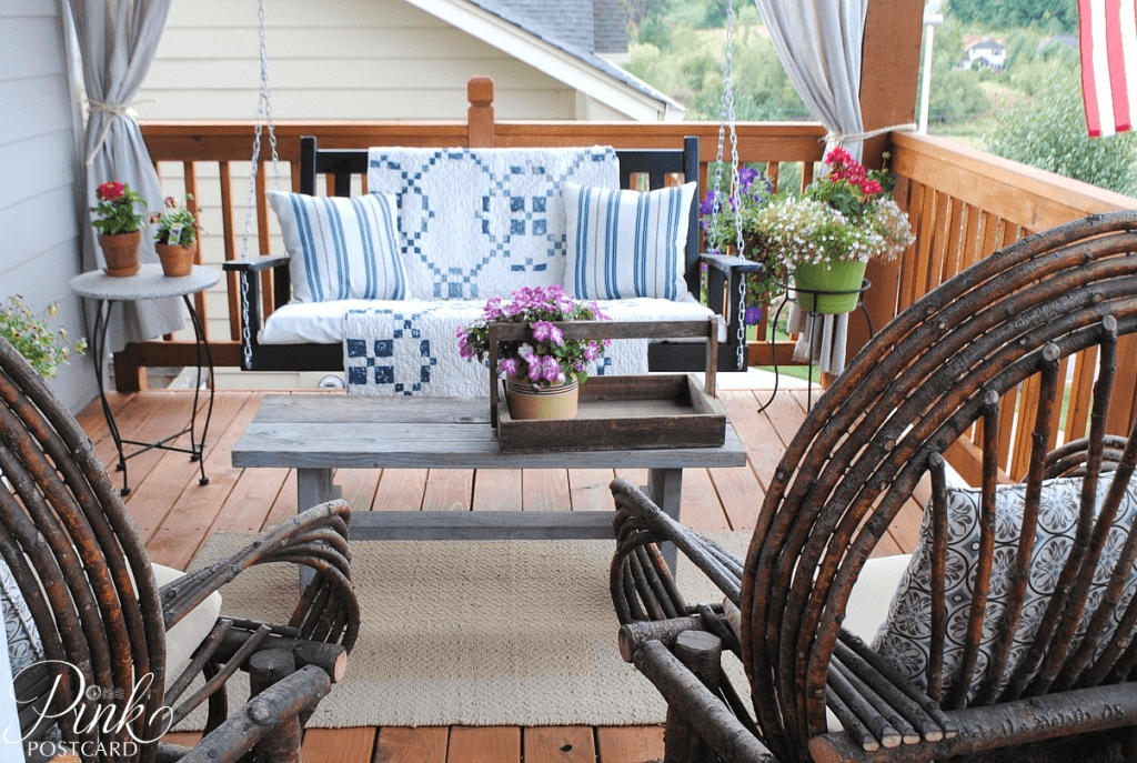 FARMHOUSE OLD FRONT PORCH SWING DECORATION IDEAS