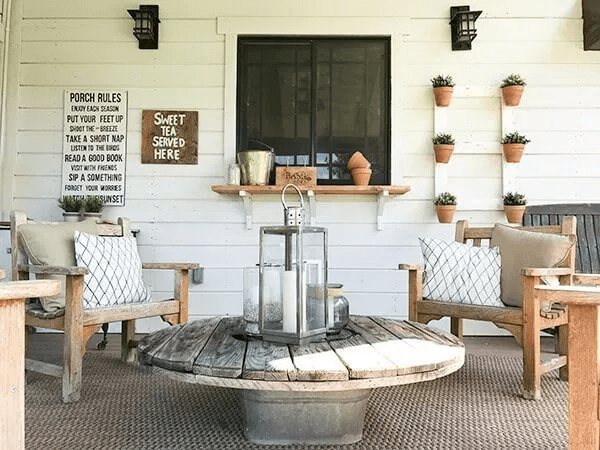 FARMHOUSE PORCH DECOR WITH REPURPOSED ITEMS