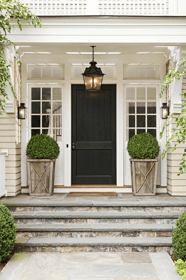 HOW TO CREATE SHRUB ON WOODEN POTS AS AWESOME FRONT PORCH DECORATION