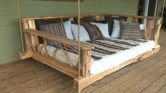 LARGE HANDMADE WOODEN RUSTIC PORCH SWING DESIGN