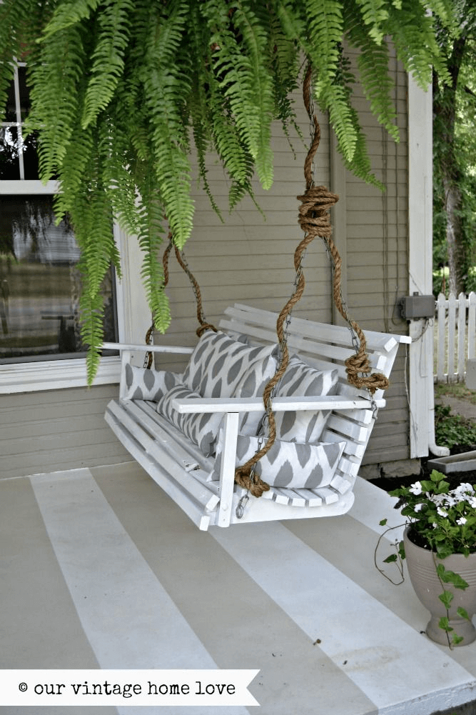 OLD PORCH SWING DECOR IDEAS WITH PLANTS