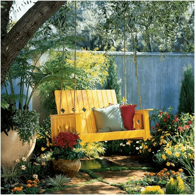 ONE OF BEST IDEAS, YELLOW PORCH SWING WITH HIGH BACK