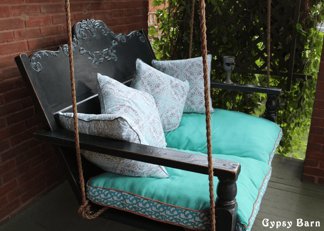 ONE OF BEST PORCH SWING DESIGN, RECYCLED BLACK PORCH SWING DIY