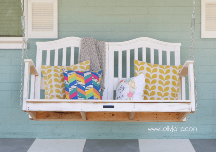 REPURPOSED BABY CRIB PORCH SWING DESIGN IDEAS