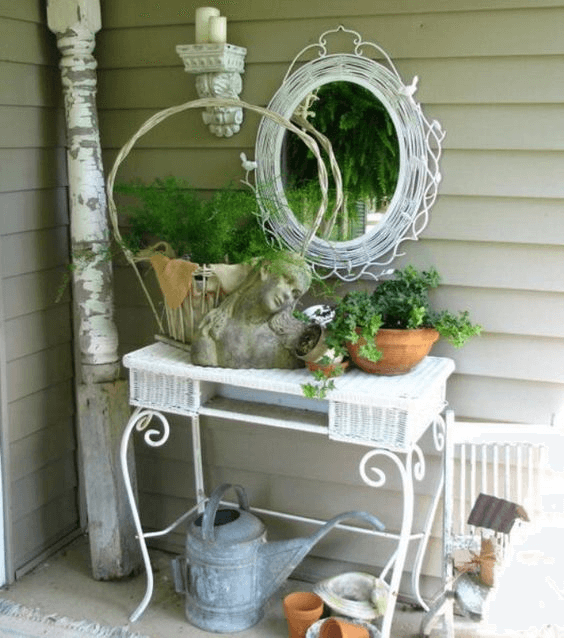 SHABBY CHIC BUST WHITEWASHED WOVEN FRAMED MIRROR FOR PORCH DECOR IDEAS