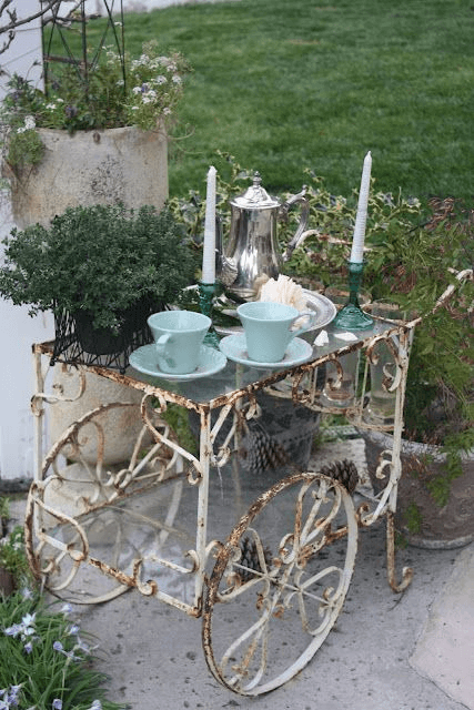 SHABBY CHIC PORCH DECOR IDEAS WITH OLD TEA CART