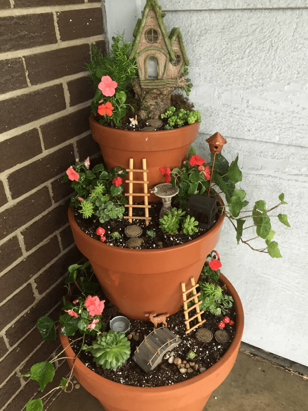 SIMPLE TIPS TO DECORATE PORCH WITH DIY FAIRY GARDEN FLOWER POTS