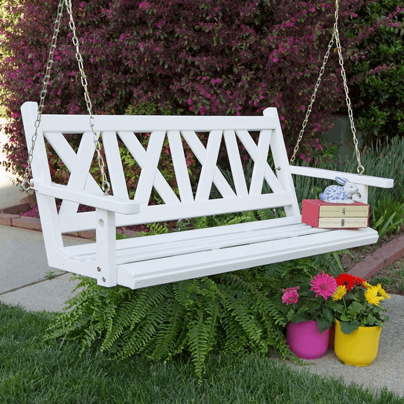 WHITE OLD PORCH SWING DECOR IDEAS