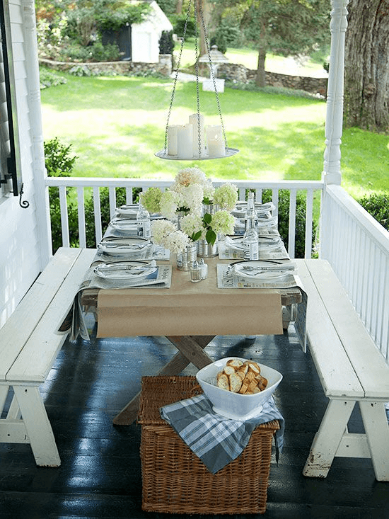 WOODEN FOLDING TABLE WHITE WASHED BENCHES FOR FARMHOUSE PORCH DECORATION