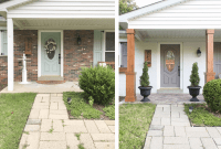 BEFORE AFTER PORCH MAKEOVER WITH TEXTURED TO PLAIN IDEAS