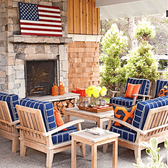 BLUE AND WOOD DESIGN IDEAS FOR COVERED PORCH