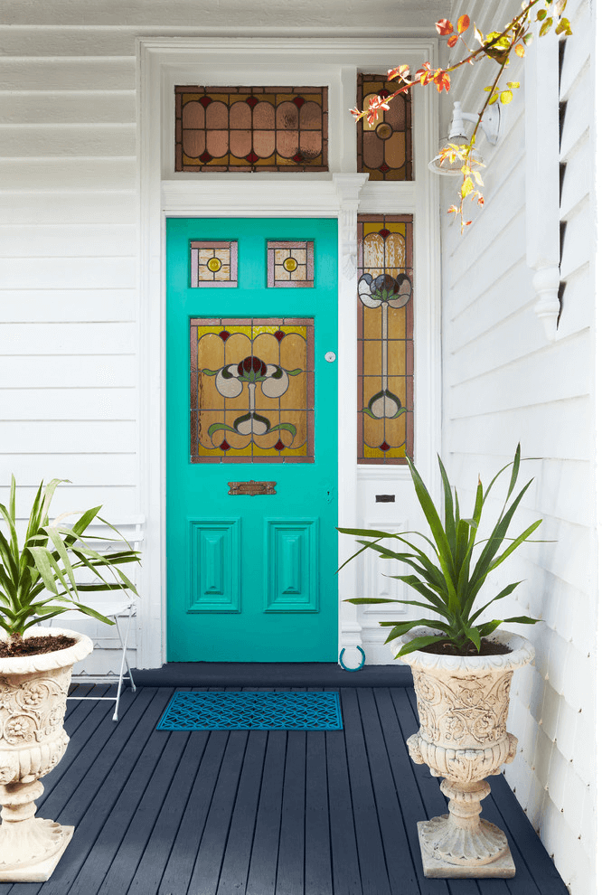 COLORFUL GLASS OVERLAY SMALL PORCH DESIGN IDEAS