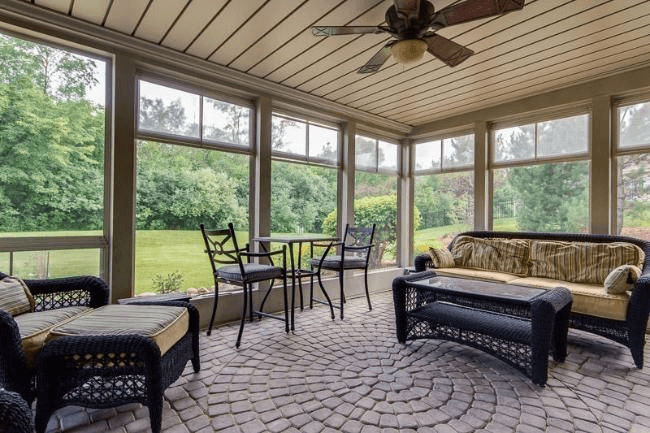 CONCRETE PAVERS FLOORING OPTION FOR SCREENED PORCH