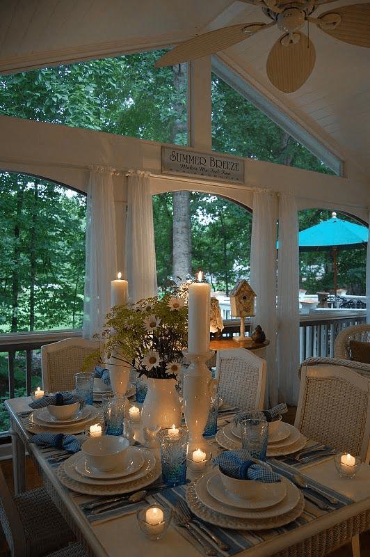 ROMANTIC DINNER COVERED PORCH DESIGN IDEAS
