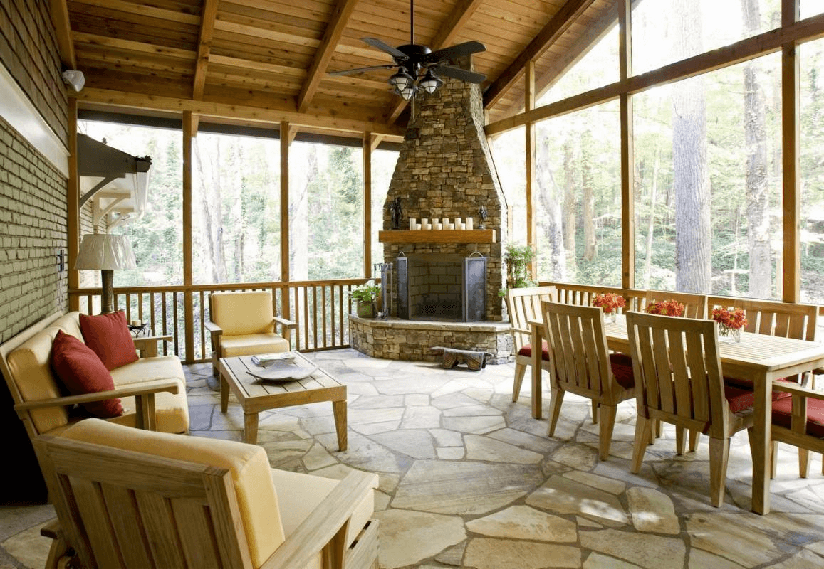 THE SCREENED PORCH DESIGN IDEAS WITH WOODEN TABLE CHAIR SETS