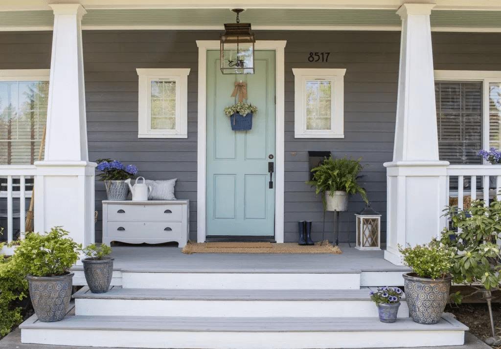 WHITE COLUMN AND WYETH BLUE DOOR FRONT PORCH DESIGN IDEAS