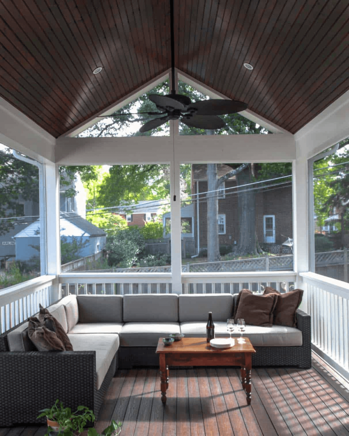 WOODEN PANELS FLOORING OPTION FOR SCREENED PORCH
