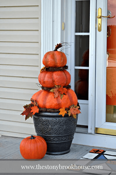 BIG POT PAPIER MACHE PUMPKINS FOR PORCH DECORATION IDEAS DIY FALL AND WINTER