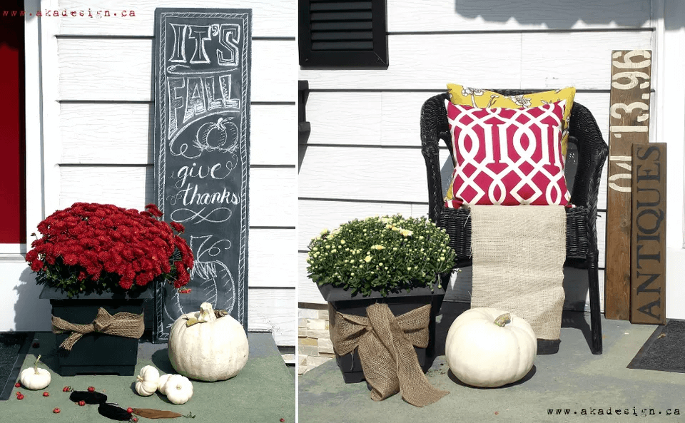 CHALKBOARD DISPLAY AND HANDWRITING FOR DIY PORCH DECOR IDEAS WINTER AND FALL