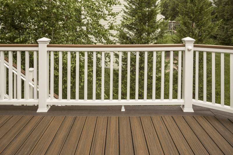 COMPOSITES WOOD RAILING TREX TRANSCEND CLASSIC WHITE TREE PORCH HOUSE DESIGN
