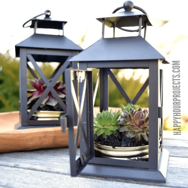 DIY PORCH DECOR IDEAS FOR SUMMER AND SPRING WITH TRANSFORM LANTERN INTO PLANTER