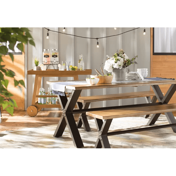 FOLDABLE PORCH FURNITURE WITH PETRONELLA 3 PIECE TEAK DINING TABLE SETS