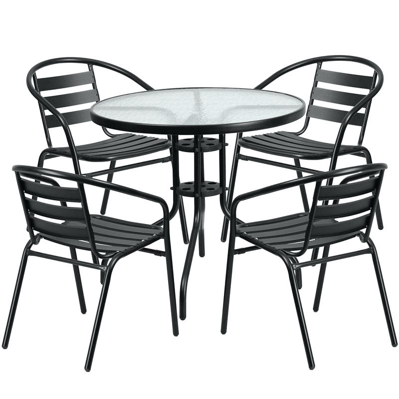 GLASS AND METAL DINING SET FOR PORCH