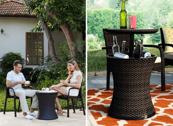 MULTIPURPOSE RESIN WICKER TABLE FOR PORCH STORAGE
