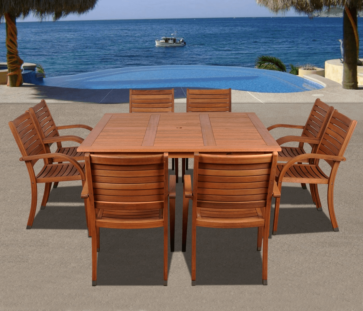 PATIO FURNITURE SET WITH CLASSIC WOODEN MATERIALS