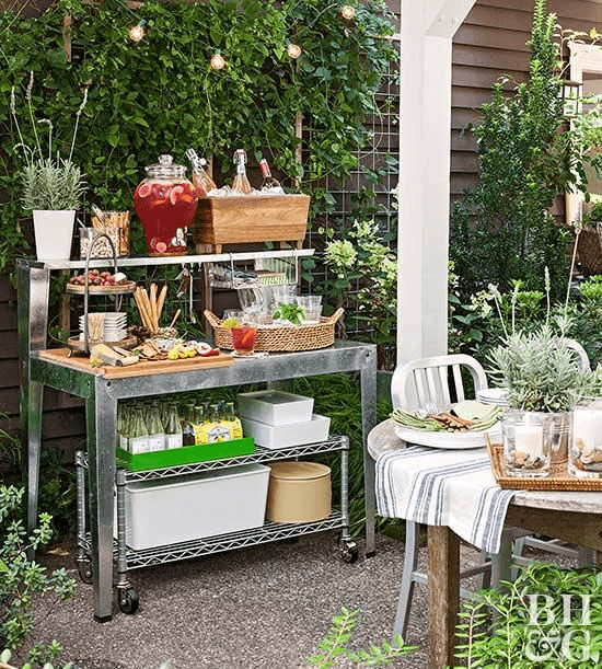 PORCH STORAGE IDEAS WITH STAINLESS POTTING BENCH