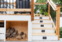 PORCH STORAGE IDEAS WITH WITH OUTDOOR STAIRS FIREWOOD STORAGE