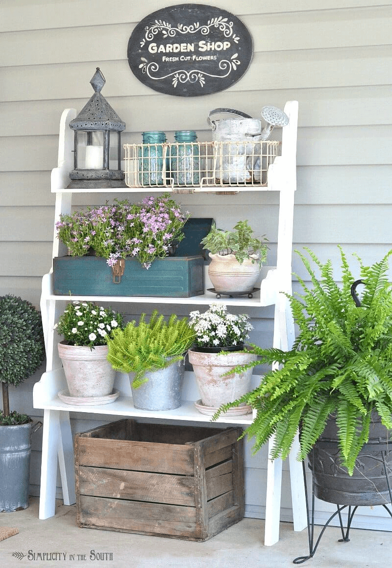 POTTING DISPLAY DIY PORCH DECOR IDEAS FOR SPRING AND SUMMER