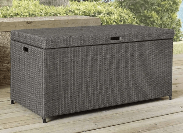 RESIN WICKER DECK BOX FOR PORCH STORAGE