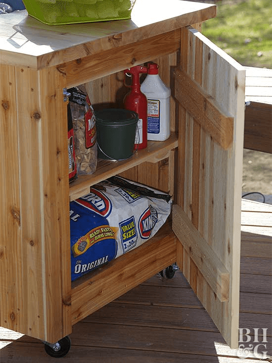 WOODEN DECK BOX GRILLING SUPPLIES STORAGE IDEAS