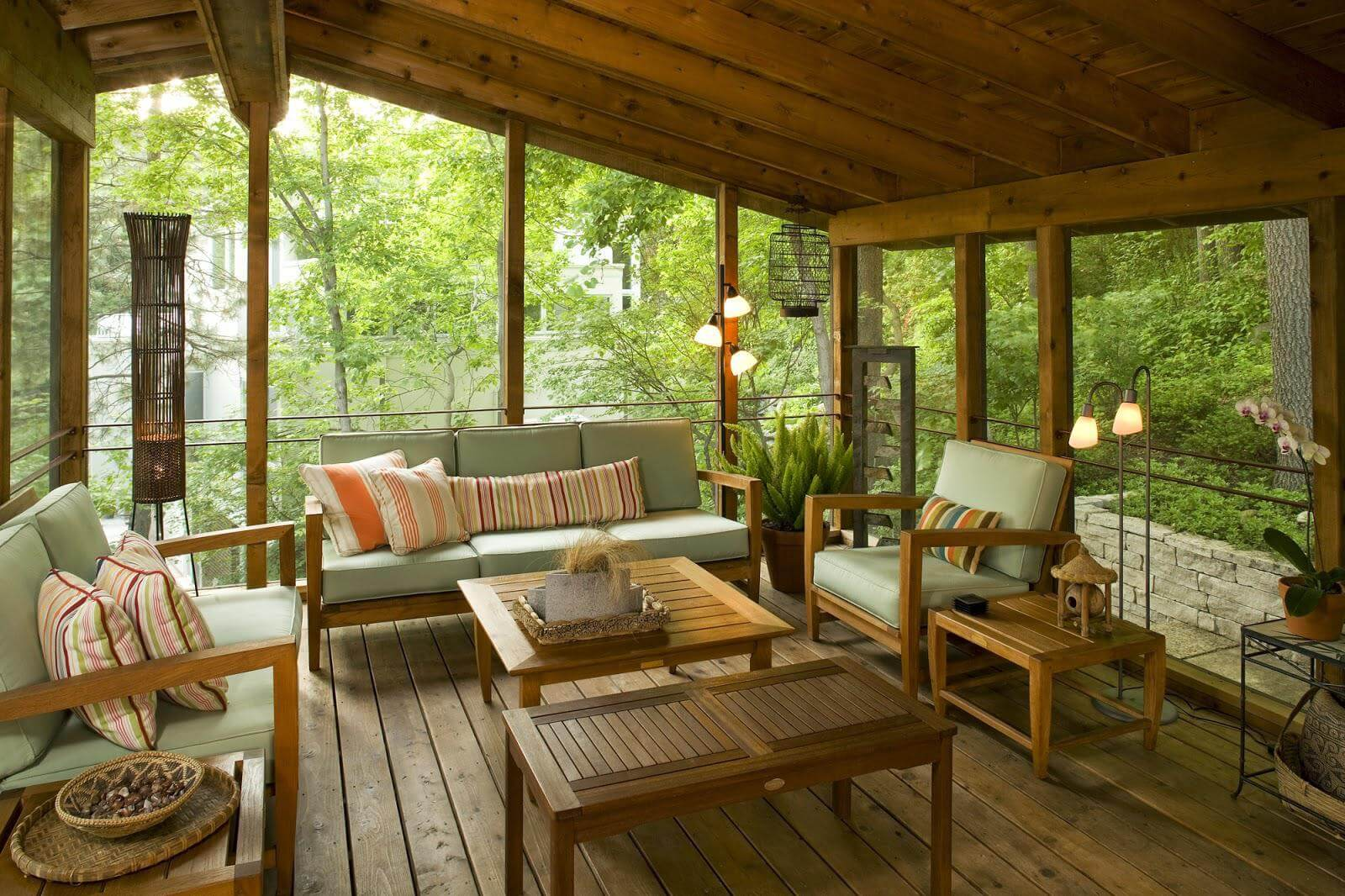RUSTIC MODERN SCREENED IN PORCH DESIGN IDEAS