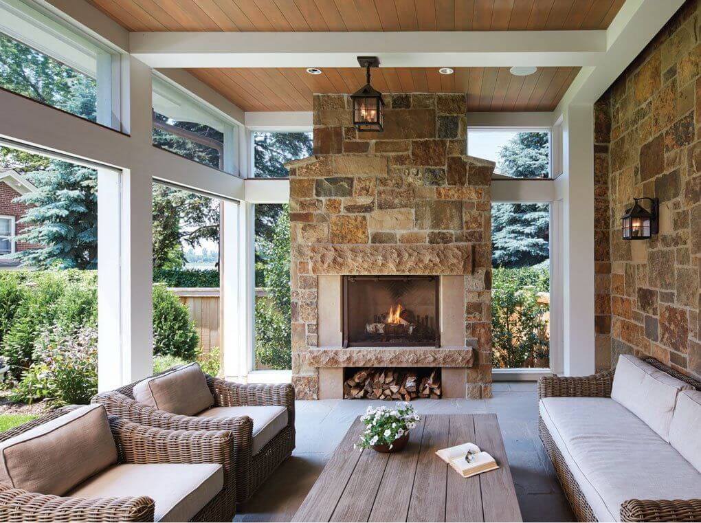 RUSTIC WARMTH SCREENED IN PORCH DESIGN IDEAS
