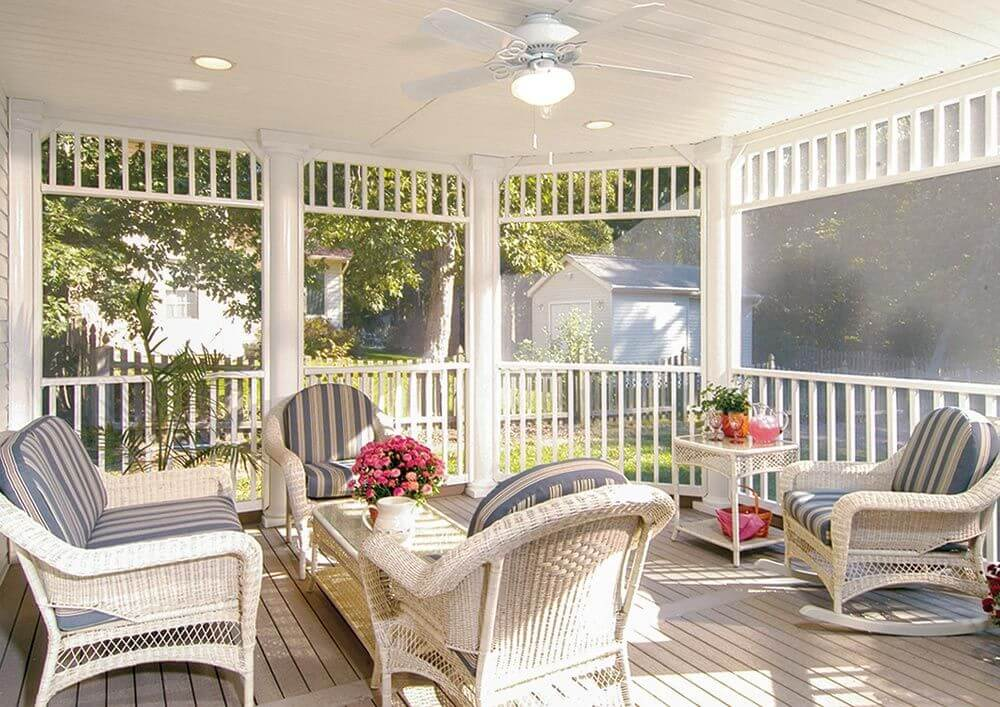 SCREENED IN PORCH RATTAN THEME DESIGN IDEAS