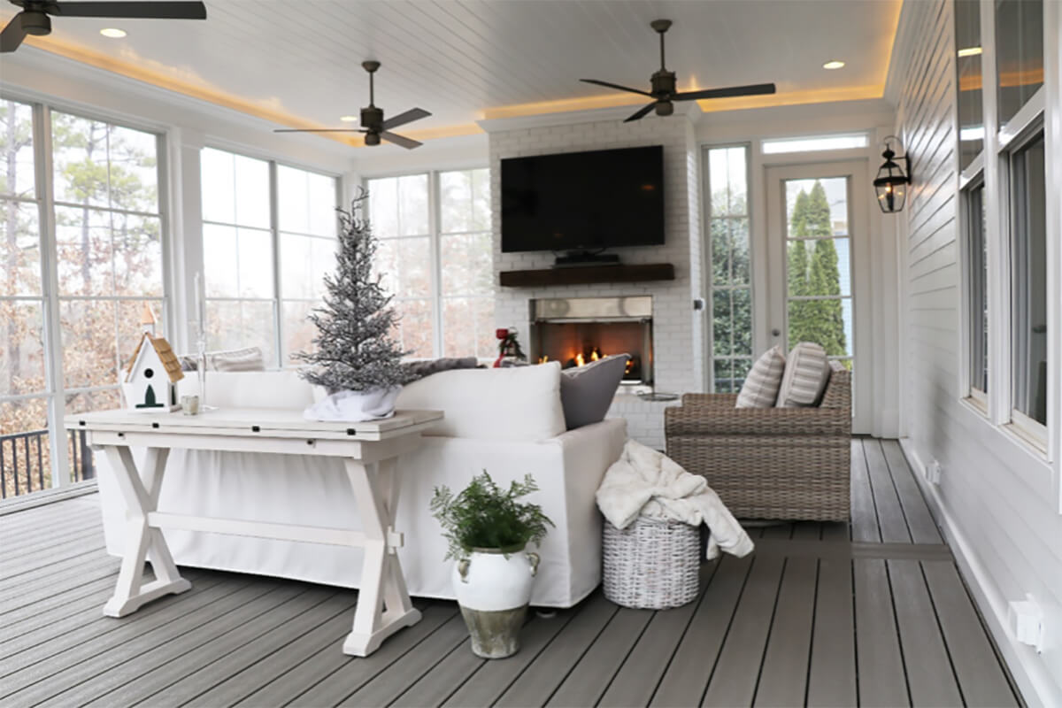 SEATING CORNER SCREENED IN PORCH DESIGN IDEAS BUILDER LAKE NORMAN