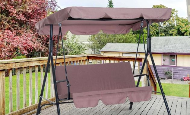 OUTSUNNY 3 PERSON STEEL FABRIC OUTDOOR PORCH SWING WITH STAND BROWN