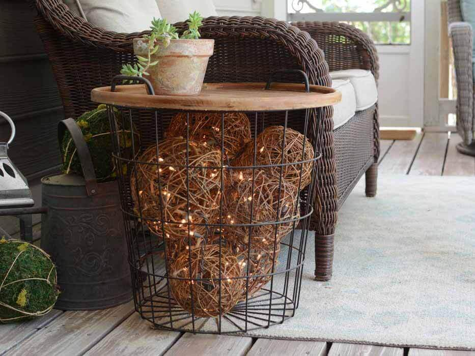 A BASKET OF OUTDOOR PORCH LIGHT