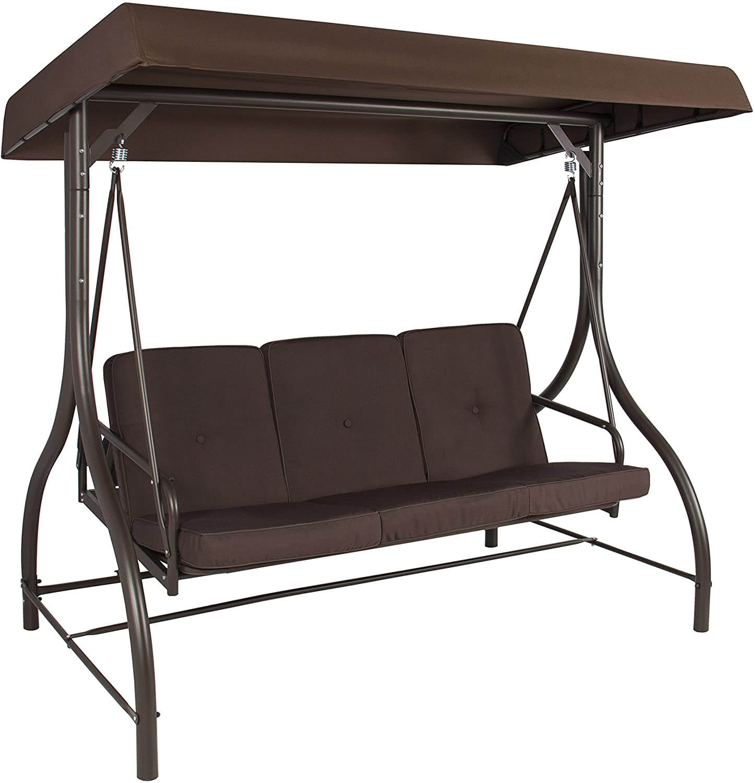 BROWN PATIO SWING BED CANOPY HAMMOCK 3 SEAT
