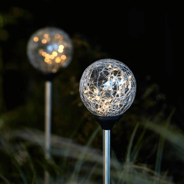 CRACKLE GLASS SOLAR PORCH LIGHT