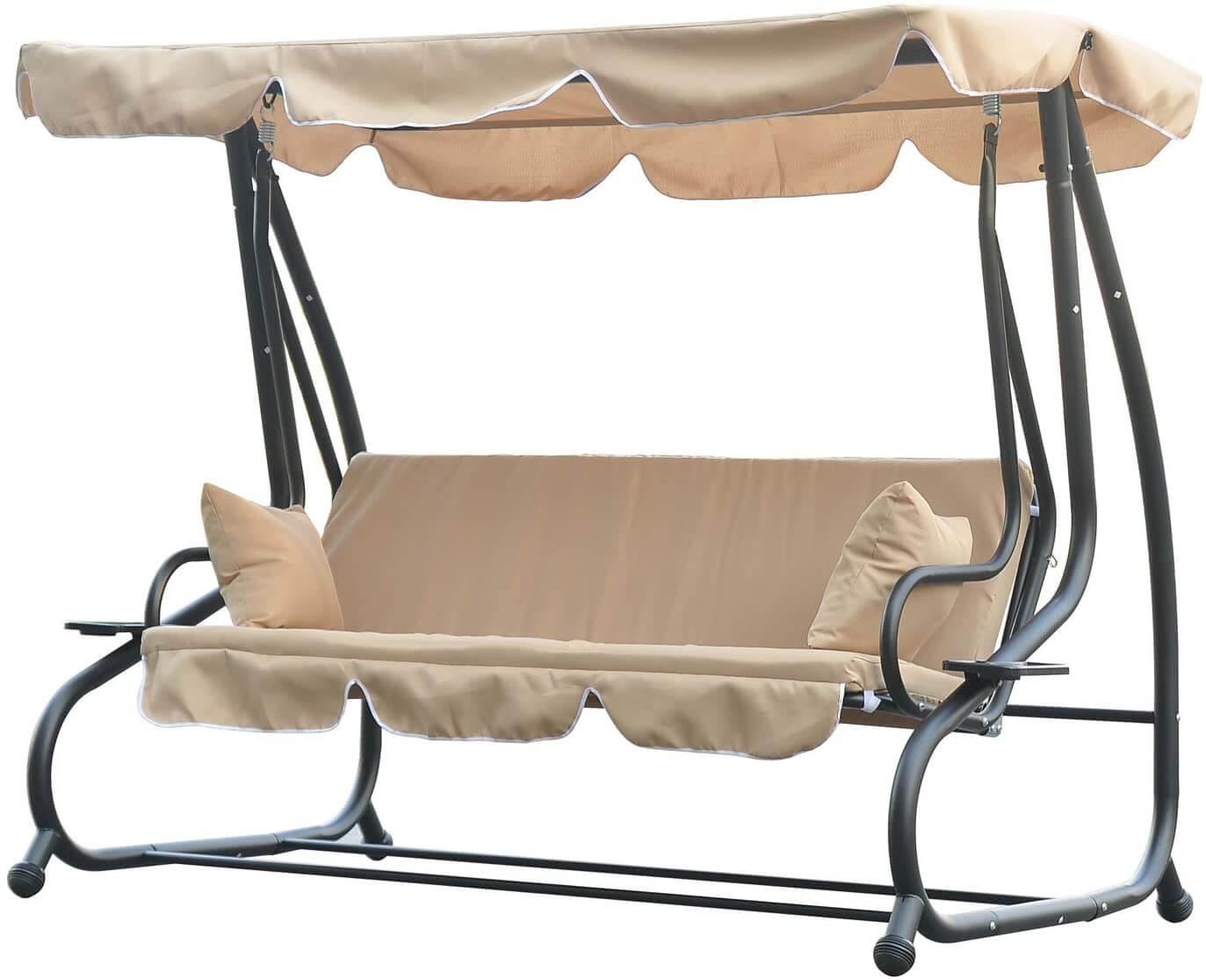 OUTSUNNY 3 SEAT OUTDOOR FREE STANDING COVERED SWING BENCH
